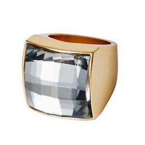 Balmain x H&M Goldtone Clear Crystal Cocktail Ring